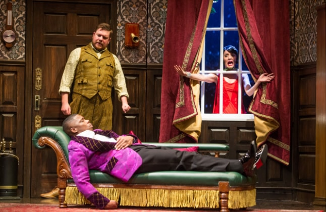 Peyton Crim, Yaegel T. Welch, and Jamie Ann Romero in 'The Play That Goes Wrong' at the Kennedy Center. Photo by Jeremy Daniel.