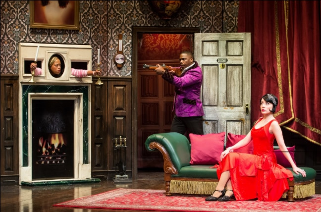 (Angela Grovey, Yaegel T. Welch and Jamie Ann Romero in 'The Play That Goes Wrong' at the Kennedy Center. Photo by Jeremy Daniel.