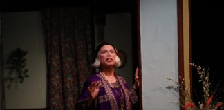 Suzanne Young (Madame Arcati) in Spotlighters Theatre's production of Blithe Spirit. Photo credit: Spotlighters Theatre/Shealyn Jae Photography.