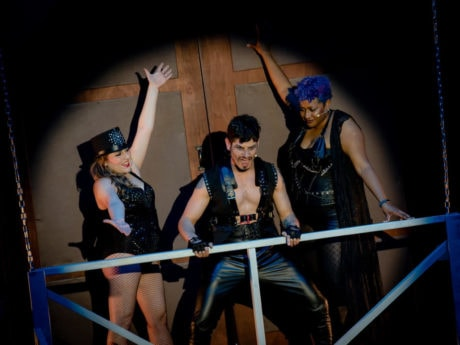 Christian Gonzalez (center) and the cast of Iron Crow Theatre's production of The Rocky Horror Show. Photo courtesy of Iron Crow Theatre.