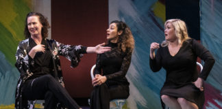 Katie Caussin, Atra Asdou, and Carisa Barreca in She The People. Photo by Teresa Castracane.