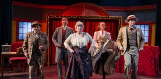 The cast of Christmas at the Old Bull & Bush, now playing at MetroStage. Photo by C, Stanley Photography.
