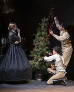 "Rebecca Ballinger, Suzy Alden, and Tiziano D' Affuso in ""A Civil War Christmas"" at 1st Stage. Photo by Teresa Castracane."