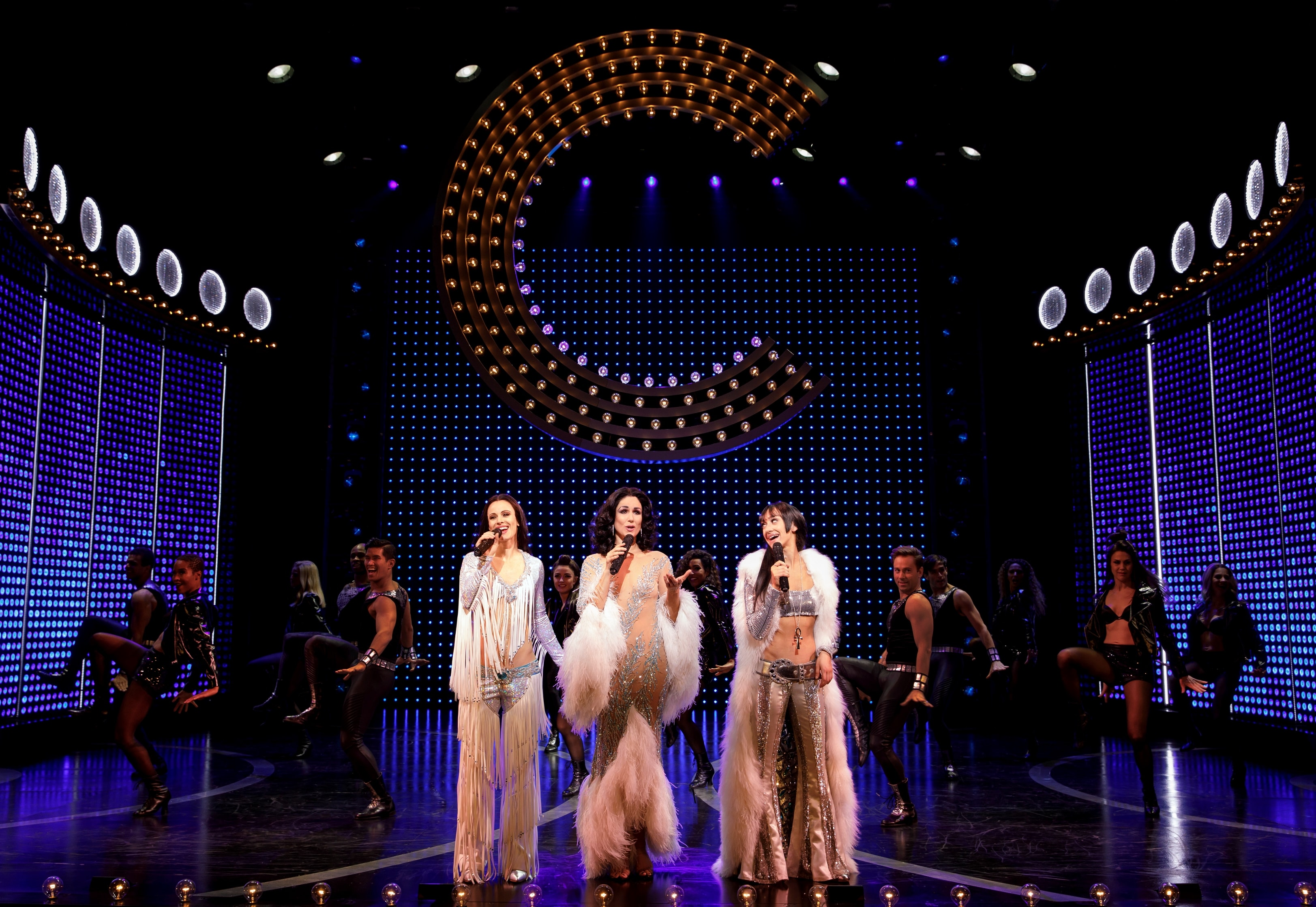 Teal Wicks, Stephanie J. Block, Micaela Diamond, and cast. Photo by Joan Marcus.