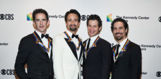 Hamilton Creative Team: Andy Blankenbuehler (Choreography), Lin-Manuel Miranda (composer, lyricist, book writer), Thomas Kail (director), and Alex Lacamoire (music director) arrive at the 2018 Kennedy Center Honors. Photo by Scott Suchman.