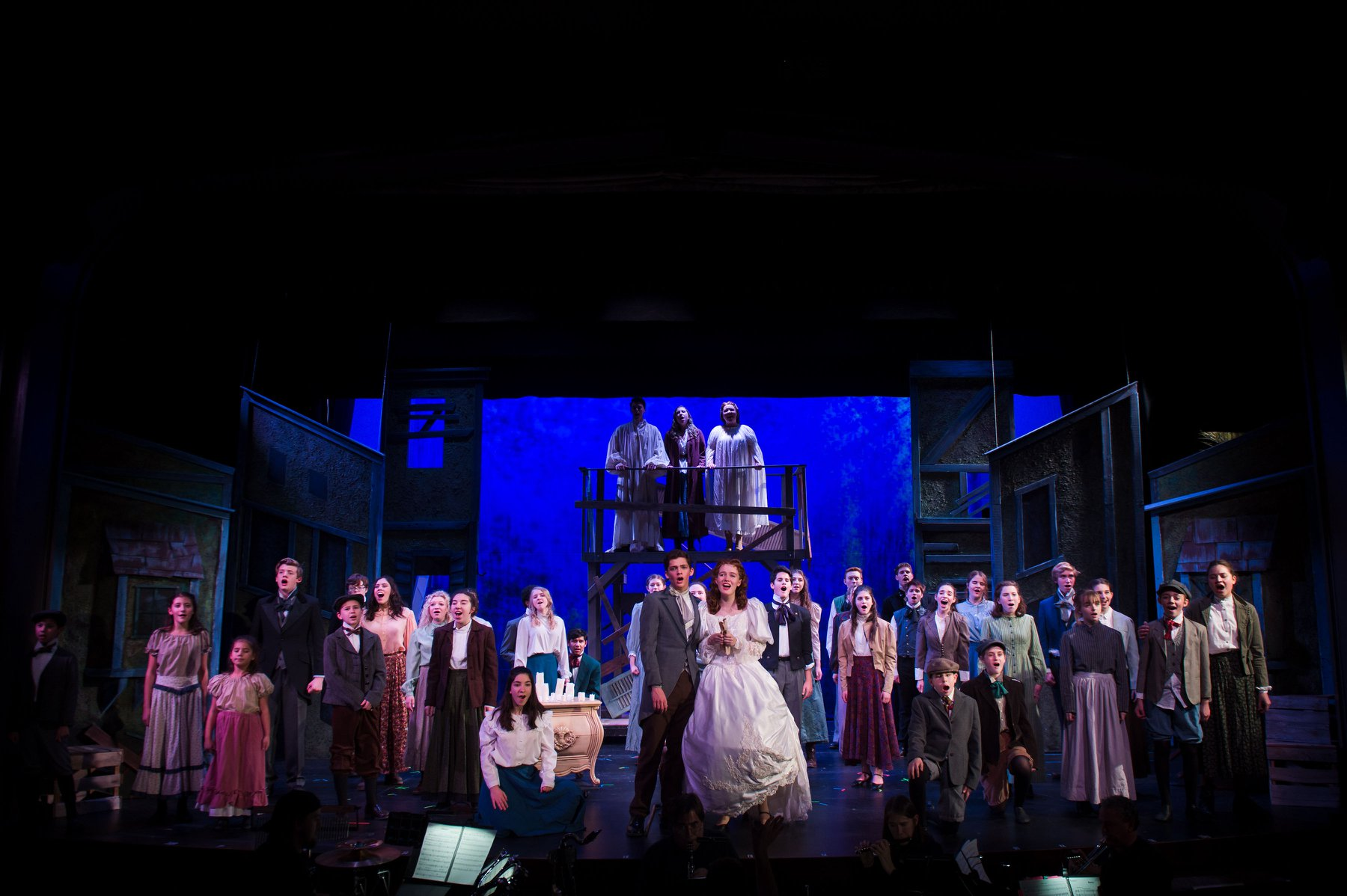 The cast of Ovations Theatre's Les Misérables: School Edition. Photo by Lock & Company.