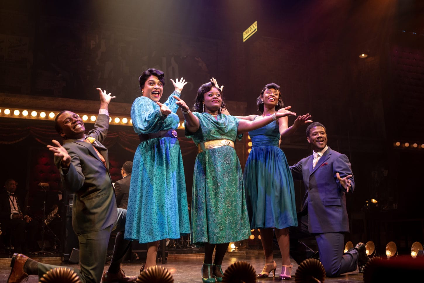 L-R: Solomon Parker III, Iyona Blake, Nova Y. Payton, Korinn Walfall, and Kevin McAllister in Ain't Misbehavin' at Signature Theatre. Photo by Christopher Mueller.