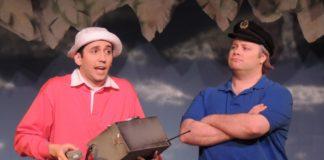 Joseph Waeyaert (Gilligan) and Jordan B. Stocksdale (Skipper) in Way Off Broadway Dinner Theatre's production of Gilligan's Island: The Musical. Photo courtesy of Way Off Broadway Dinner Theatre.