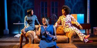 Kara Tameika Watkins, Roz White, and Ayana Reed in 'Three SIstahs' at MetroStage. Photo by Chris Banks.