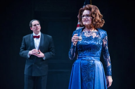 (L to R) Max Woertendyke (Mikhail Khodorkovsky) and Candy Buckley (White House Official) in the world premiere of Kleptocracy running January 18 through February 24, 2019 at Arena Stage at the Mead Center for American Theater. Photo by C. Stanley Photography.