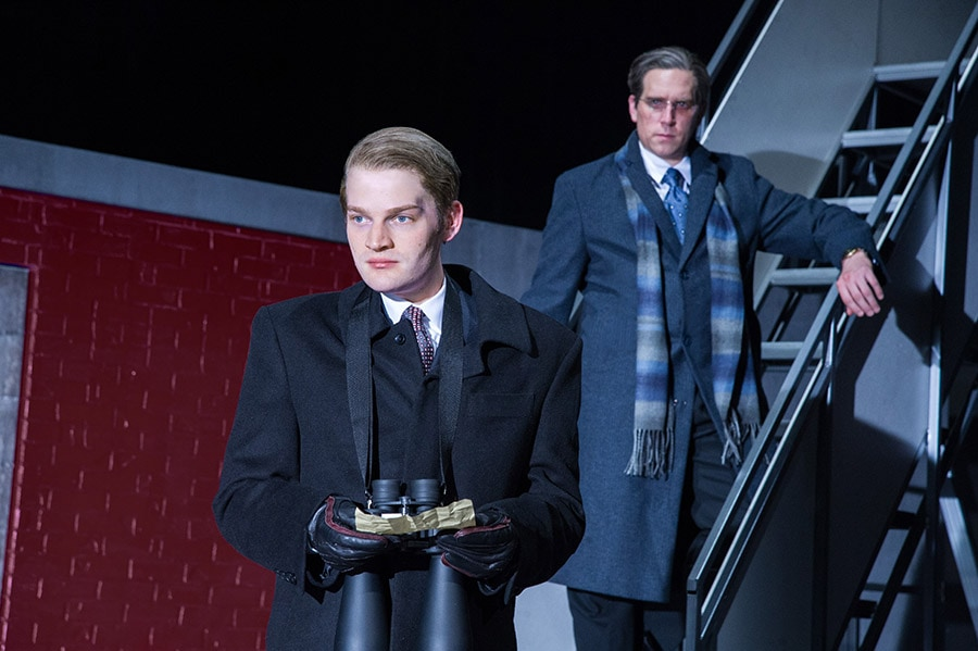 (L to R) Christopher Geary (Vladimir Putin) and Max Woertendyke (Mikhail Khodorkovsky) in the world premiere of Kleptocracy running January 18 through February 24, 2019 at Arena Stage at the Mead Center for American Theater. Photo by C. Stanley Photography.