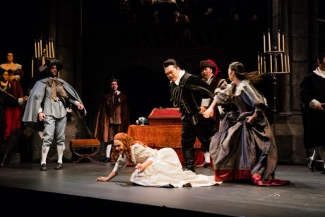 Maeve Höglund as Lucia and the cast of Maryland Lyric Opera's production of Lucia di Lammermoor. Photo courtesy of Maryland Lyric Opera.