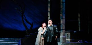 Maeve Höglund as Lucia and Yi Li as Edgardo in Maryland Lyric Opera's production of Lucia di Lammermoor. Photo courtesy of Maryland Lyric Opera.