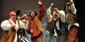 Erin Gallalee (Smee), Capt. Hook (Nathan McGraw), Starkey (Dash Samari), Jukes (Isabella Walrath), Noodler (Sarah Bleier), and Cecco (Samba Pathak) in Vienna Theatre Company's production of Peter Pan. Photo by Matthew Randall.