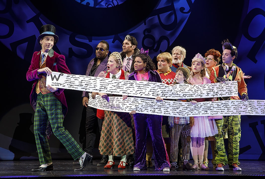 Noah Weisberg and the national tour cast of Charlie and the Chocolate Factory. Photo by Joan Marcus.