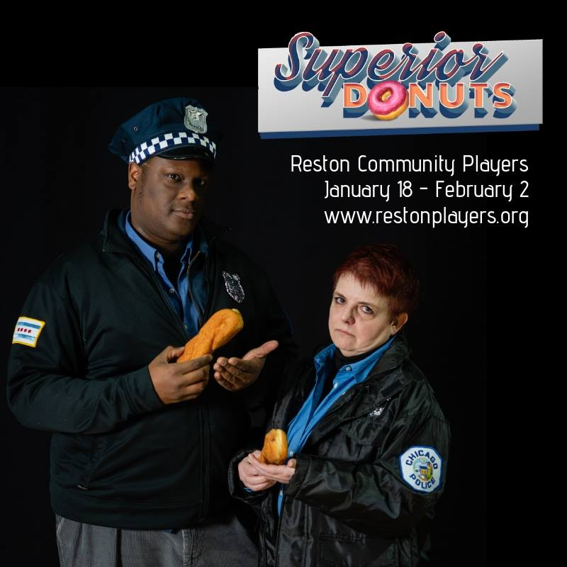 Matthew McCarthy plays Officer James Bailey and Mattie Cohan plays Officer Randy Osteen in Reston Community Players' production of Superior Donuts, playing through February 2 at Reston Centerstage. Photo courtesy of Reston Community Players.