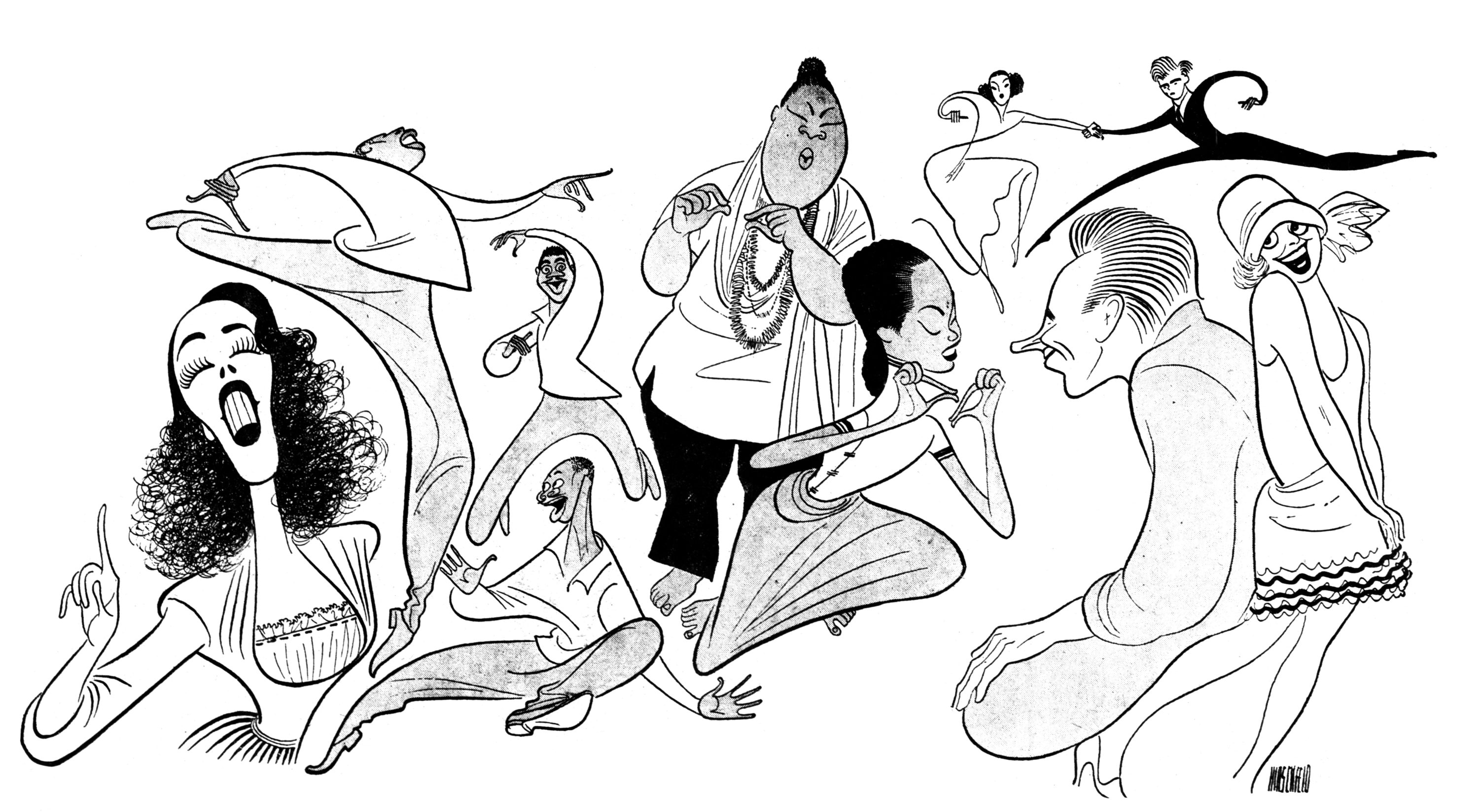 Al Hirschfeld, Carol Channing (right) in Supporting Players whose Numbers Stop their Musical Shows, 1949. © The Al Hirschfeld Foundation. All rights reserved. www.AlHirschfeldFoundation.org.