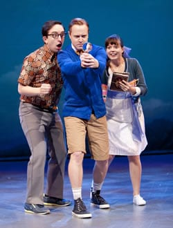 James Gardiner, Stephen Gregory Smith, and Margo Seibert in 'The Boy Detective Faills' at Signature Theatre (2011). Photo by Scott Suchman.