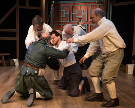Tom Howley, Keith Cassidy, Nicholas Temple, Gary Sullivan, Lena Winter, and David Dubov in Equivocation at Silver Spring Stage. Photo: Harvey Levine.