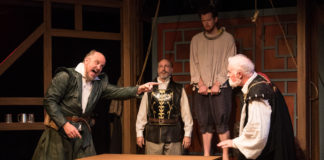 Keith Cassidy, David Dubov, Nicholas Temple, and Gary Sullivan in Equivocation at Silver Spring Stage. Photo: Harvey Levine.