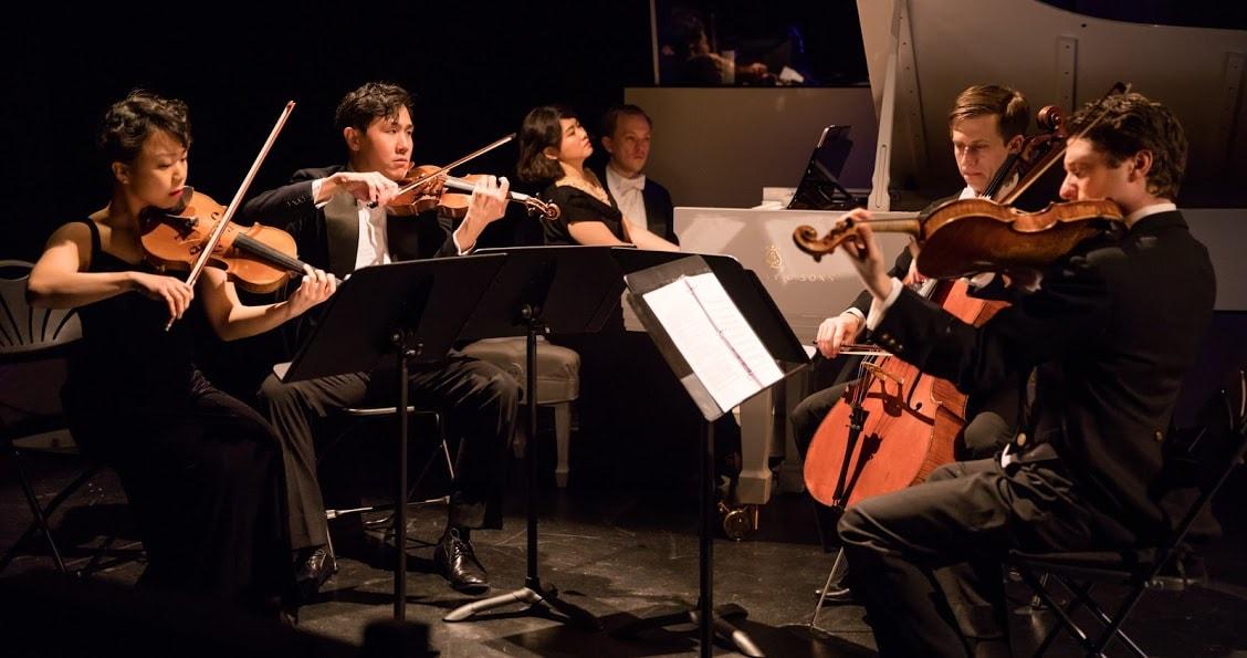 Mari Lee and Henry Wang on violins, Zhenni Li on piano (with page turner Miles Mandwelle), Ari Evan on cello, and Matthew Cohen on viola. Photo by Shirin Tinati.