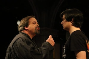 Thom Eric Sinn and Thomas Bowers in I Hate Hamlet. Photo by Spotlighters Theatre/Shaelyn Jae Photography.