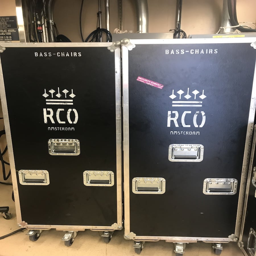 The bassists of RCO bring their own chairs. It pays to be prepared! Photo by Samantha Pollack.