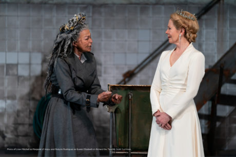 Lizan Mitchell as Margaret of Anjou and Robynn Rodriguez as Queen Elizabeth in Shakespeare Theatre Company's production of 'Richard the Third.' Photo by Scott Suchman.