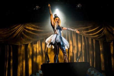 Ana Tsikurishvili as Time in Synetic Theater's production of 'Cyrano de Bergerac.' Photo by Johnny Shryock.