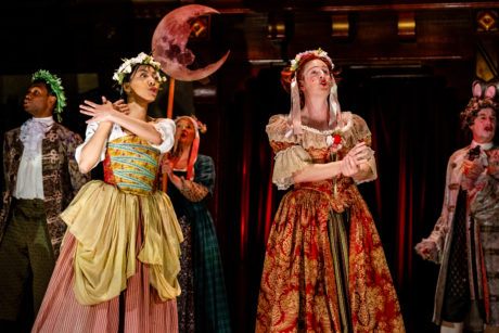 Christopher Dinolfo (second from right) as Edward Kynaston, performs with The King's Company in 'Nell Gwynn.' Photo by Brittany Diliberto.