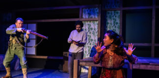 Chris Stinson, Nahm Darr, and Julie M in 'Among the Dead' at Spooky Action Theatre. Photo by Tony Hitchcock.