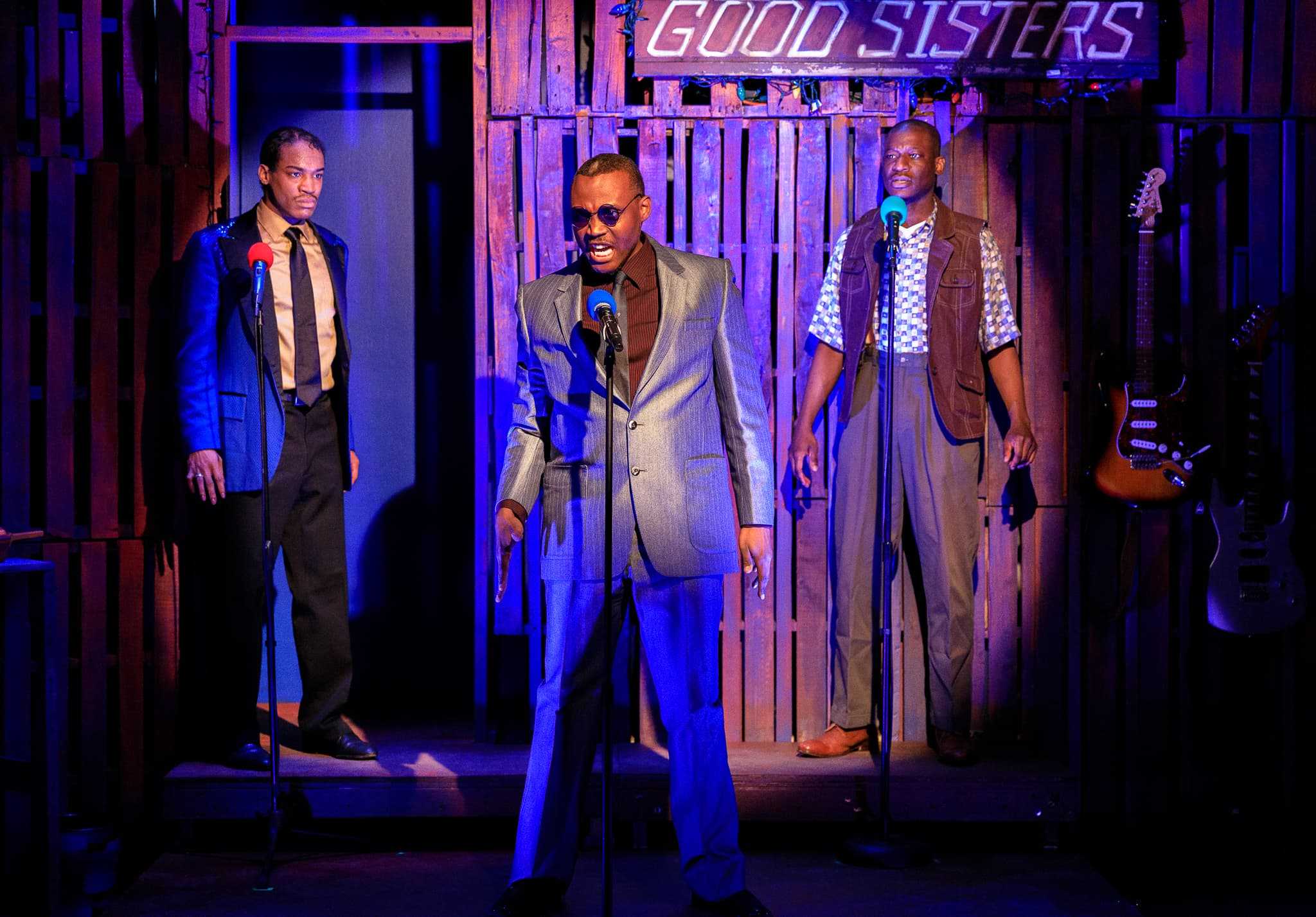 L-R: Bryan Jeffrey (Jaguar Dupree, Jr.), Clifton Walker III (Marvell Thunder), and Greg Watkins (Dregster Dupree) in Creative Cauldron's production of 'Thunder Knocking on the Door.' Photo by Keith Waters Kx Photography.