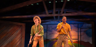 Max Gerecht (Huck) and Nathan Butts (Jim) in the world premiere of Huckleberry Finn's Big River at Adventure Theatre MTC. Photo by Ryan Maxwell.
