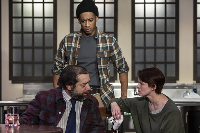 Zach Brewster-Geisz (Frog), Tim German (Oscar) and Carolyn Kashner (Shelley) in Grand Concourse at Prologue Theeatre. Photo by Teresa Castracane Photography.