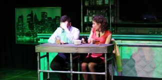 Nicholas Cox (Aaron) and Katherine Worley (Casey) in First Date by Other Voices Theatre. Photo by James Meech.