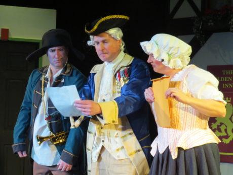 Dorn (Terence Heffernan), Freytag (John Morogiello), and Frau Schmidt (Rebecca A. Herron) find a secret manuscript. Photo by Elizabeth Kemmerer.