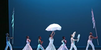 Alvin Ailey American Dance Theater performs Alvin Ailey's Revelations. Photo by Donna Ward.