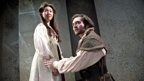 Morganne Chu as Ophelia and Connor Padilla as Hamlet in 'Rosencrantz and Guildenstern Are Dead' at Annapolis Shakespeare Company. Photo by Joshua McKerrow.