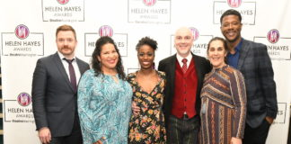 L-R: Will Garshore, Rayanne Gonzales, Felicia Curry, Rick Hammerly, Kathryn Chase Bryer, and Kevin McAllister presented the nominations for the 2019 Helen Hayes Awards. Photo by Clarissa Villondo / Karlin Villondo Photography.