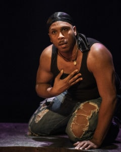 Clayton Pelham, Jr. in 'The Brothers Size' at 1st Stage. Photo by Teresa Castracane.