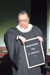 Lorraine Brooks as the Judge in '12 Incompetent Jurors.' Photo courtesy of Laurel Mill Playhouse.