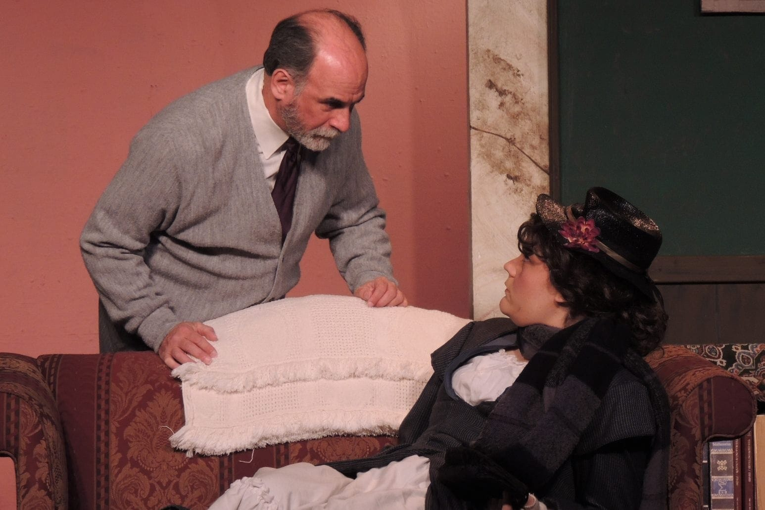Ken Kemp as Higgins and Megan E. West as Eliza in Way Off Broadway Dinner Theatre's production of 'My Fair Lady.' Photo courtesy of Way Off Broadway Dinner Theatre.