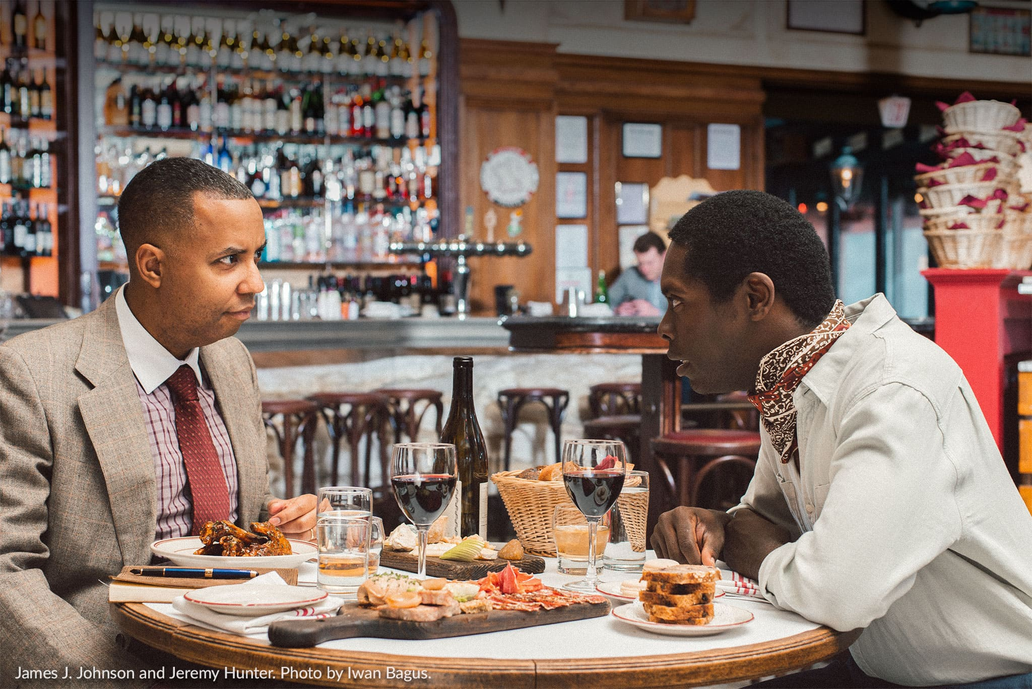 James J. Johnson as Richard Wright and Jeremy Hunter as James Baldwin in 'Les Deux Noirs.' Photo by Iwan Bagus.