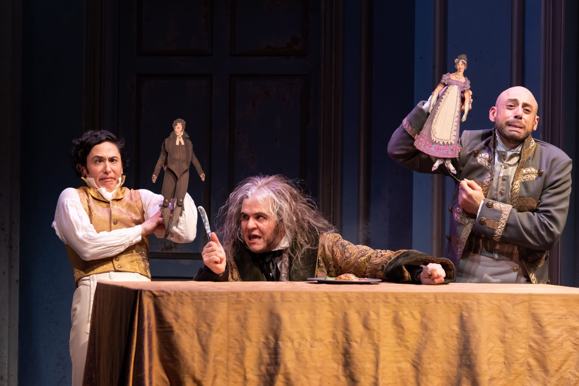 Alyssa Wilmoth Keegan, Vincent Randazzo and Anthony Michael Lopez in Shakespeare Theater Company's production of 'Vanity Fair.' Photo by Scott Suchman.