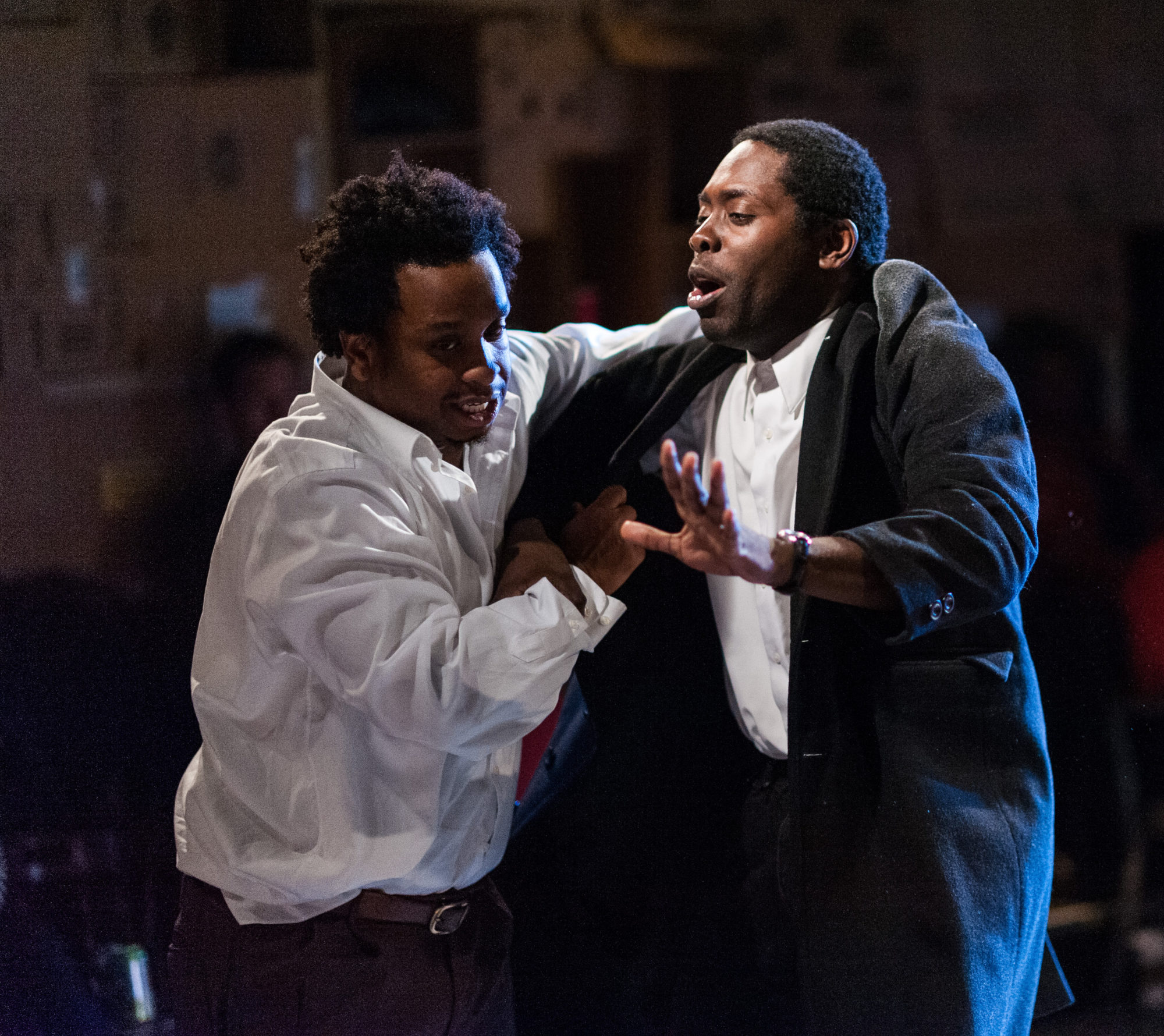 Louis E. Davis and Jeremy Keith Hunter in Avant Bard's production of 'Topdog/Underdog.' Photo by DJ Corey Photography.