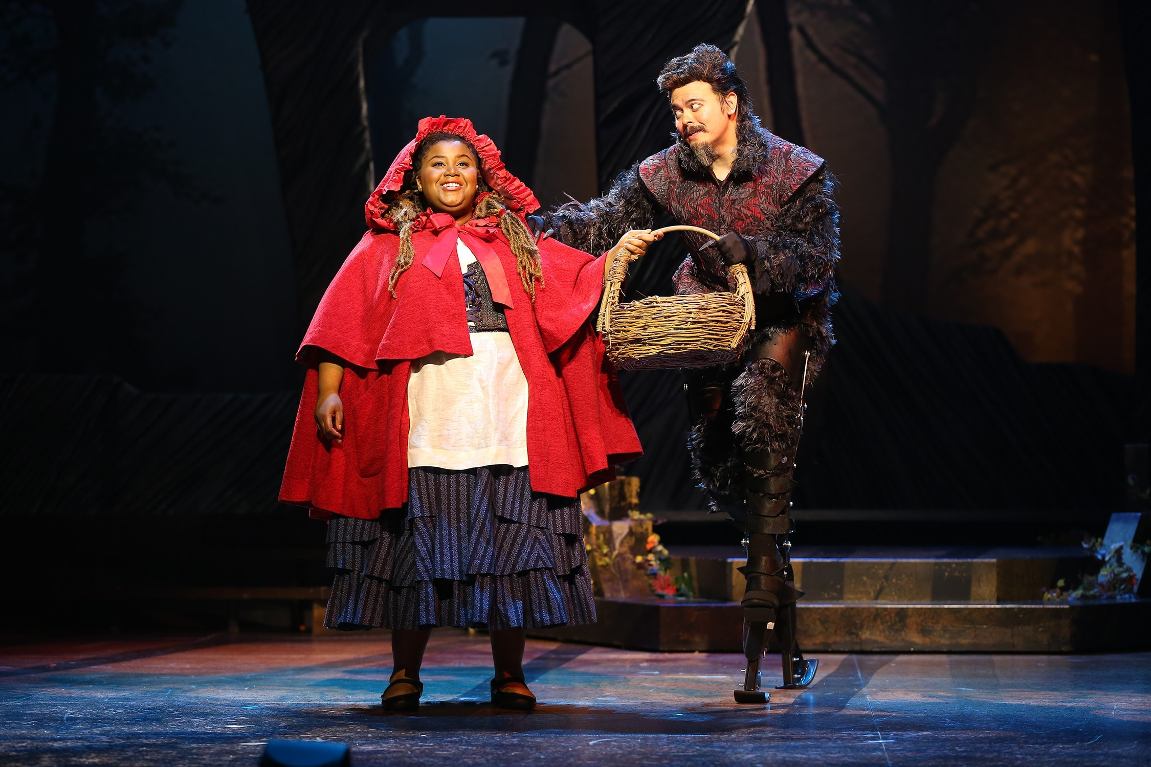Jade Jones as Little Red Ridinghood and Christopher Mueller as First Wolf in 'Into the Woods.' Photo by Carol Rosegg.