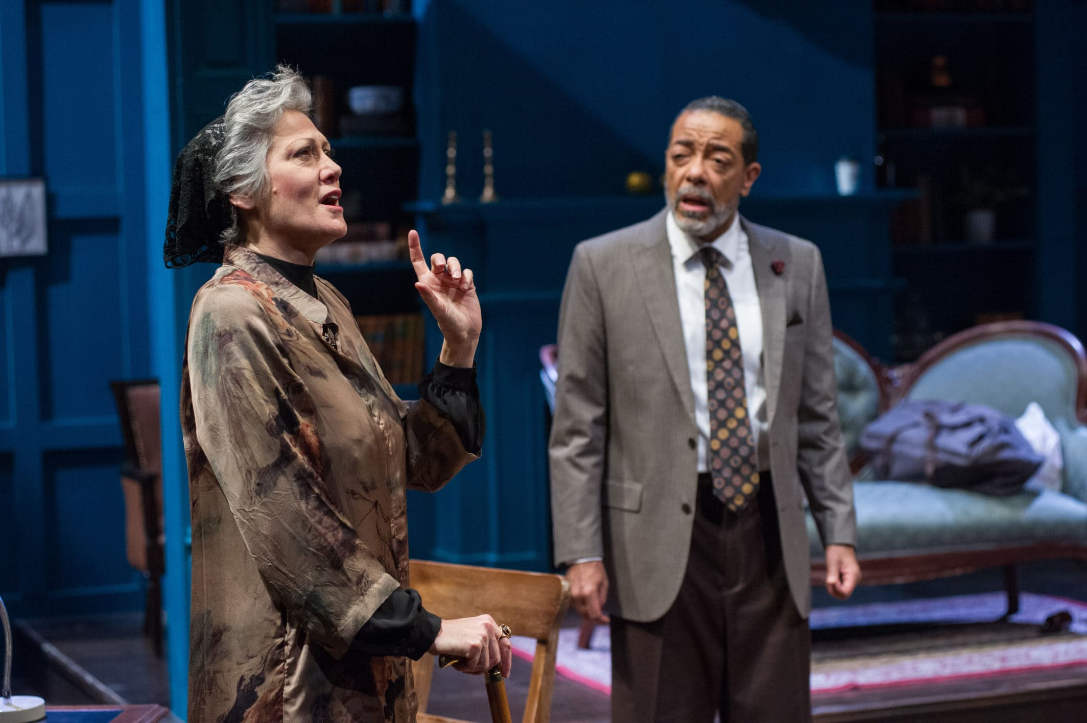 Valerie Leonard and Frank X in Theater J's production of 'The Jewish Queen Lear,' playing at Georgetown University's Davis Performing Arts Center through April 7. Photo by C. Stanley Photography.