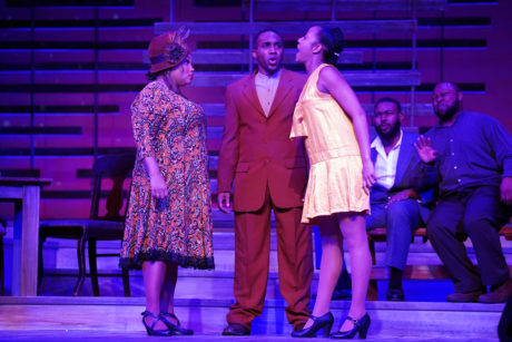 Kadejah Oné (Sofia) with Carl Williams (Harpo) and IO Browne (Squeak) in 'The Color Purple' at Riverside Center for the Performing Arts. Photo by Susan Carr-Rossi.