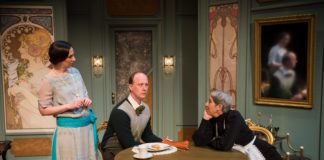 """Teresa Spencer, John Stange and Lorraine Magee in Noel Coward's """"Fallen Angels"""" at NextStop Theatre Company. Photo by Lock and Company."""