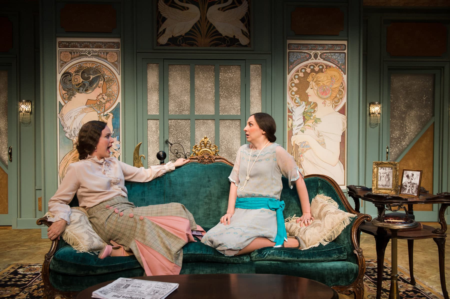"""Elizabeth Anne Jernigan and Teresa Spencer in Noel Coward's """"Fallen Angels"""" at NextStop Theatre Company. Photo by Lock and Company."""